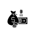 cash money black icon sign on isolated vector image vector image