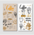 coffee and bakery restaurant menu 4 vector image vector image