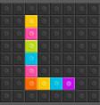 colorful brick block letter l flat design vector image vector image