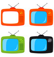 colorful cartoon retro tv set isolated on white vector image vector image
