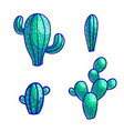 colorful design of desert cactus icons vector image vector image