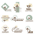 cotton isolated icons pure and organic product vector image vector image
