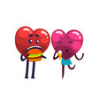 cute red and pink hearts characters eating vector image vector image