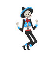 dancing skeleton in mexican national costume vector image