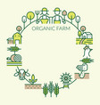 farm and agriculture line icons round frame vector image vector image