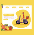 farm products delivery man poster vector image vector image