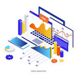 flat color modern isometric - data analysis vector image vector image
