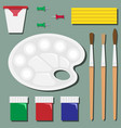 flat set of stationery on the table for art vector image vector image