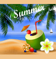 fresh drinking coconut with a straw vector image