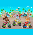 funny pets are riding bikes in the town vector image vector image