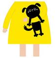 girl holding black dog puppy cute cartoon kawaii