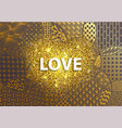golden background love heart vector image vector image