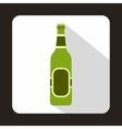 Green bottle of beer icon flat style vector image vector image