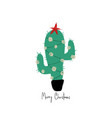 greeting card with christmas cactus tree vector image vector image