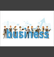 group of smiling office people holding the word vector image vector image