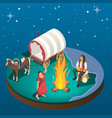 gypsy overnight stay isometric composition vector image vector image