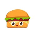 Hamburger in flat cartoon vector image