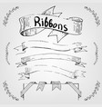 hand drawing ribbons and banners for text vector image vector image