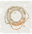 Hand drawn lifebuoy on grunge paper background vector image