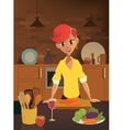 Healthy food cartoon woman cooking in the modern