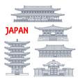 japanese temples shrines japan pagodas kyoto vector image vector image