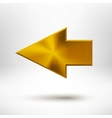 Left Arrow Sign with Gold Metal Texture vector image vector image