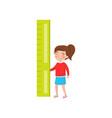 little girl holding giant ruler preschool vector image vector image