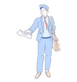 mailwoman in uniform with parcel and document on vector image
