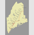 maine detailed exact detailed state map vector image vector image