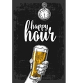 male hand holding a beer glass vector image