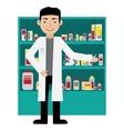 Male pharmacist in a pharmacy opposite the shelves vector image vector image