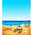 Nature scene with beach and sea vector image