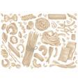 pasta noodle spaghetti food doodle set vector image