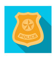 police badge icon in flat style isolated on white vector image vector image