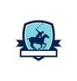 Polo Player Riding Horse Crest Retro vector image vector image
