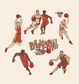 retro basketball players in sports uniform vector image vector image