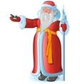 Russian Santa Claus feeds the bird titmouse vector image vector image