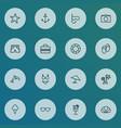season icons line style set with bikini dolphin vector image