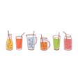 set detox drinks fruit smoothies organic vector image