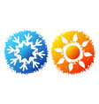 snowflake and sun symbol for air conditioning vector image vector image