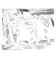 the entombment is being carried by his followers vector image vector image