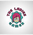 the ladies gamer is a gamer girl logo or logo for vector image