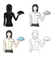 the waitressprofessions single icon in cartoon vector image vector image