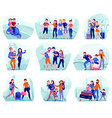 travelers compositions set vector image vector image