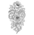 twisted snake and peony flowers vector image vector image