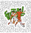 two football soccers fighting for football vector image