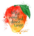Watercolor of isolated mango fruit vector image vector image