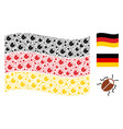 waving german flag pattern of bug items vector image vector image