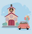 wedding just married card vector image vector image