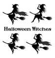 witch flying on broom vector image vector image
